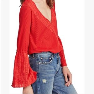 Free People NWT Parisian Nights Red Bell Sleeve